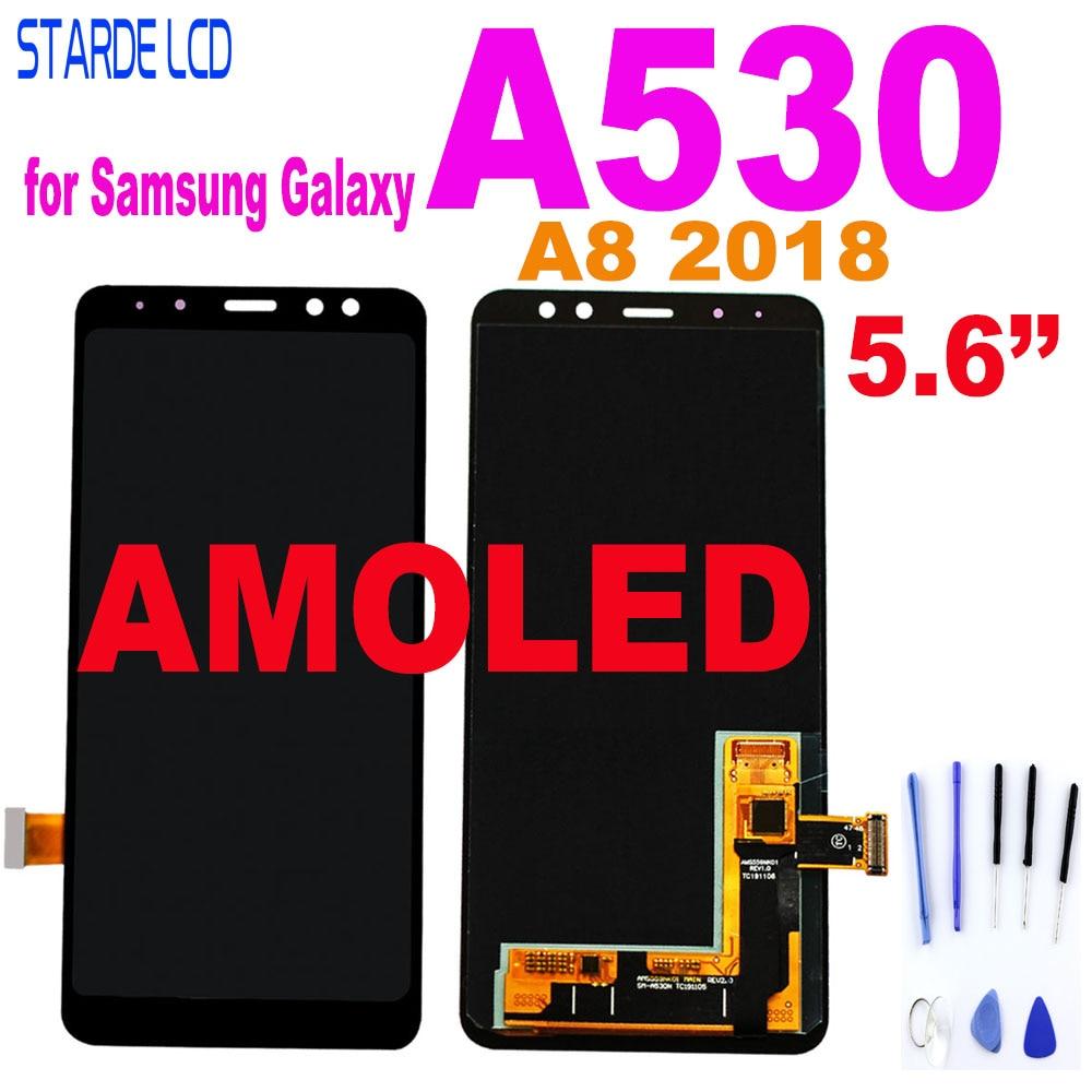 شاشة AMOLED LCD تعمل باللمس مع ضبط السطوع ، لهاتف SAMSUNG Galaxy A8 5.6 A530 ، 2018 بوصة ، أصلي