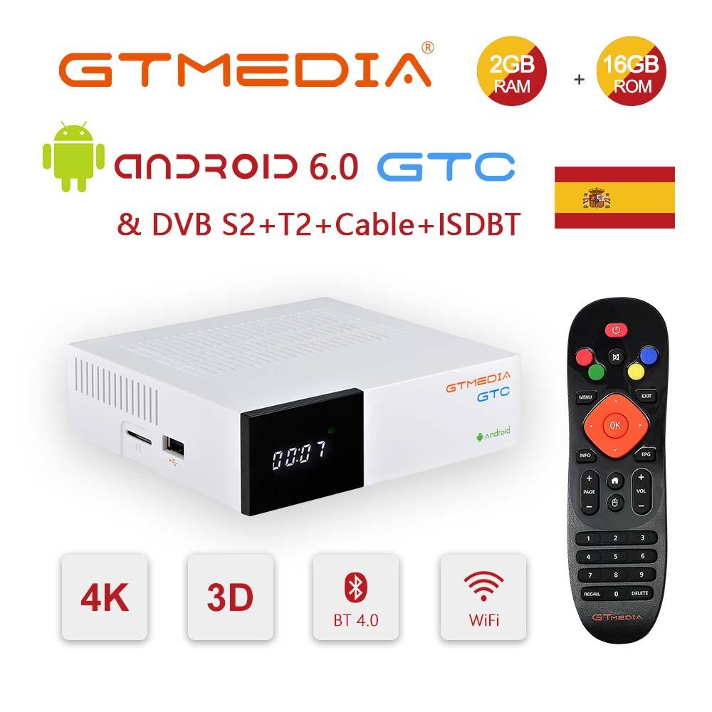 GTmedia GTC الفضائيات استقبال مستقبلات الروبوت 6.0 التلفزيون مربع DVB-S2/T2/كابل Amlogic S905D 2GB 16GB التلفزيون مربع اسبانيا أوروبا فك