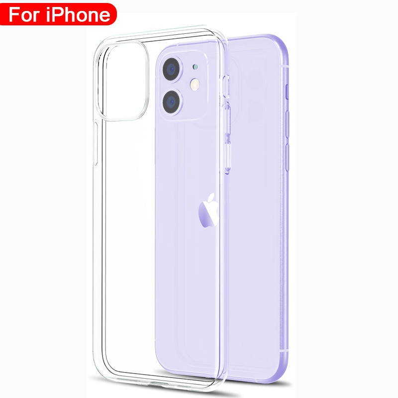 Ultra Thin Clear Phone Case For iPhone 11 12 Pro Max XS Max XR X Soft TPU Silicone For iPhone 4 5 6