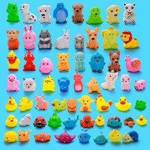 80pcs /lot Vinyl Toys Little Duck Water Toys Vinyl Pinch Animals Childrens Gifts