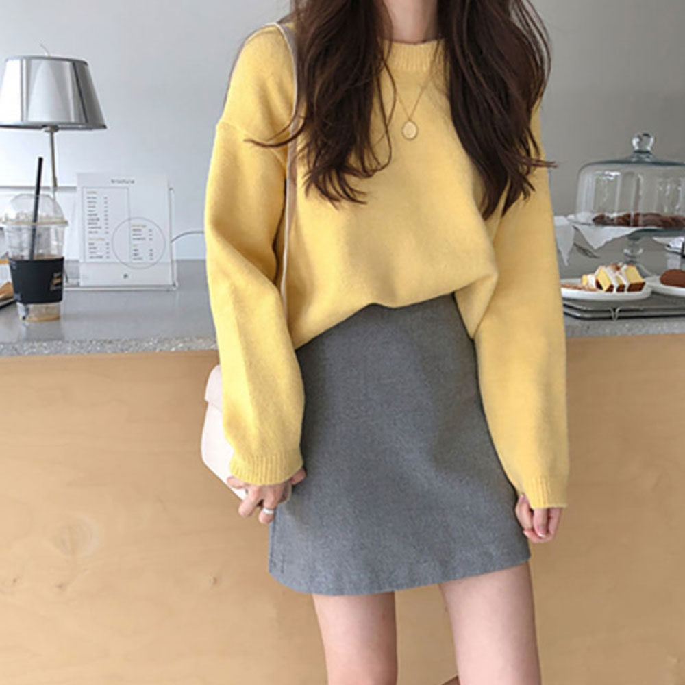 ZOTTSOZ Pullovers Knitwear Harajuku Korean Loose Knitted Solid Color Sweater Women 2021 Casual Plain Jumpers Tops Streetwear