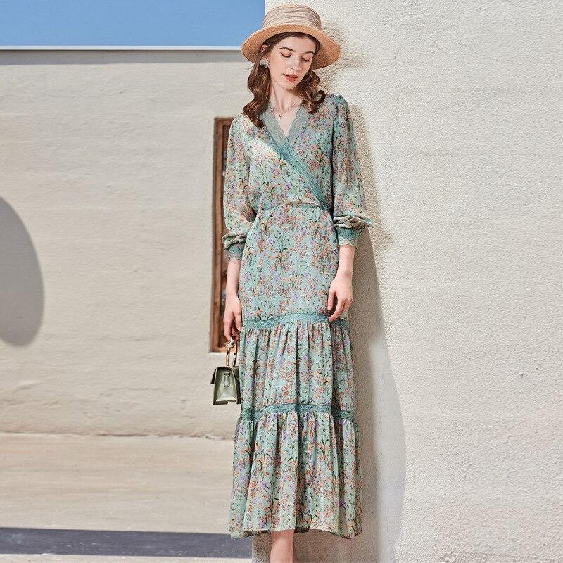 100% الحرير الربيع فستان صيفي 2021 أنيقة الأزهار ماكسي فساتين للنساء فستان بكم طويل الإناث Vestido دي Mujer Pph4206