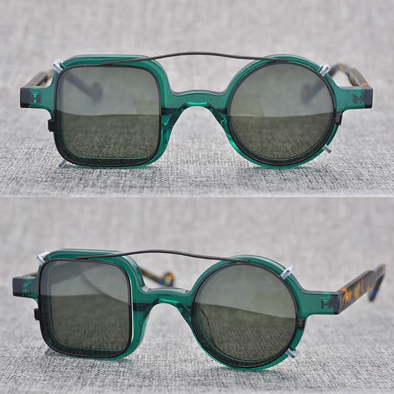 Polarized Clip on Sunglasses Men Vintage Steampunk Sun Glasses Women Retro Square Round Sunglass UV400 Clear Oculos De Sol