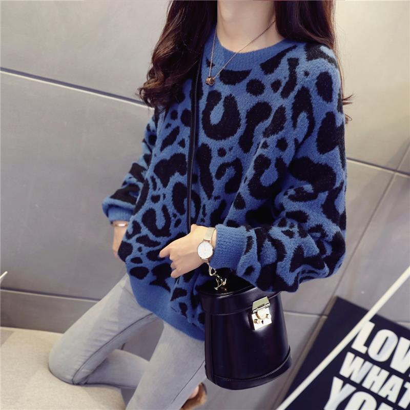 Autumn and Winter New Leopard Print Sweater Pullover Fashion Loose
