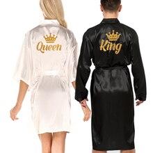 wedding queen king robe men robe satin matching couple kimono Valentine Anniversary gift bridal part