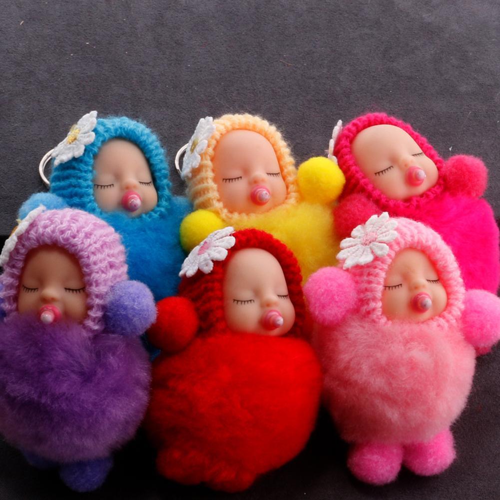 Mullido pezón mano pie dormir Bebé muñeca pompón llavero bolsa colgante