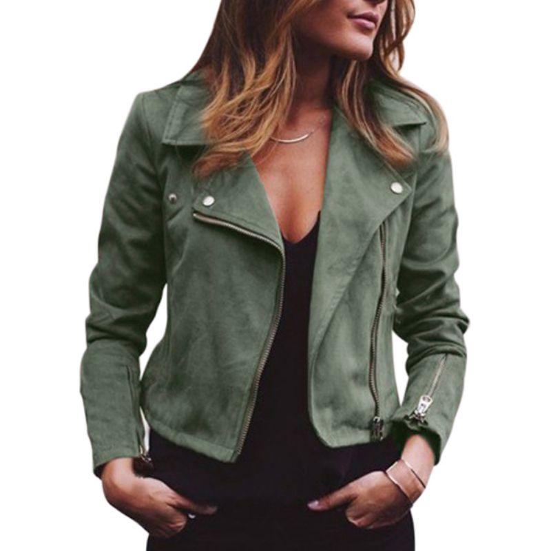 jacket female winter new women's lapel diagonal zipper short ladies coat wine red female cool fashion coat large size