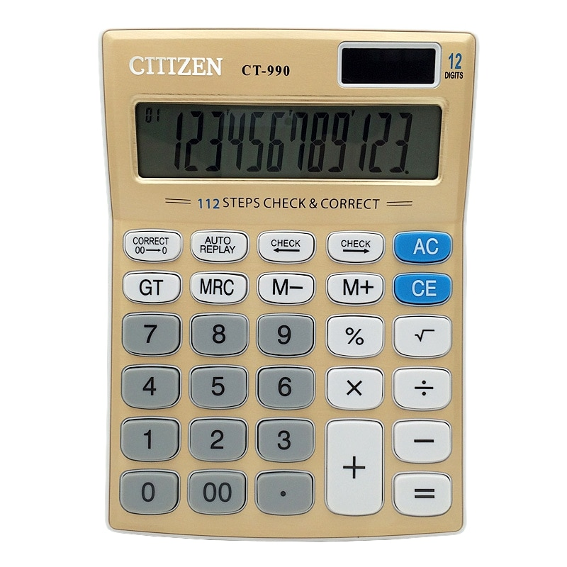 Calculadora de oficina Gtttzen, calculadora Solar de Ct-990, pantalla de 12 dígitos, papelería de oficina