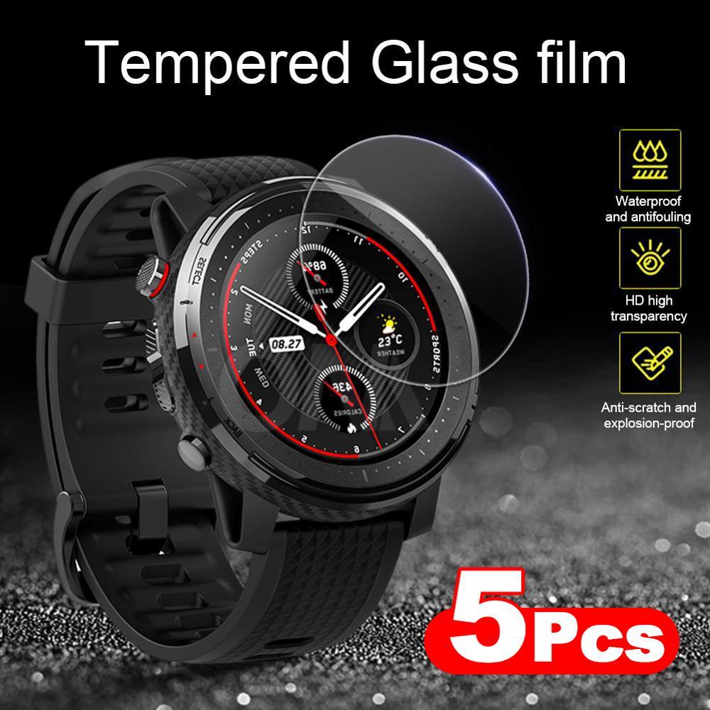 5 Pieces 9H Premium Tempered Glass For Amazfit Stratos 3 Smartwatch Screen Protector Huami Amazfit Stratos 3 Film Accessories
