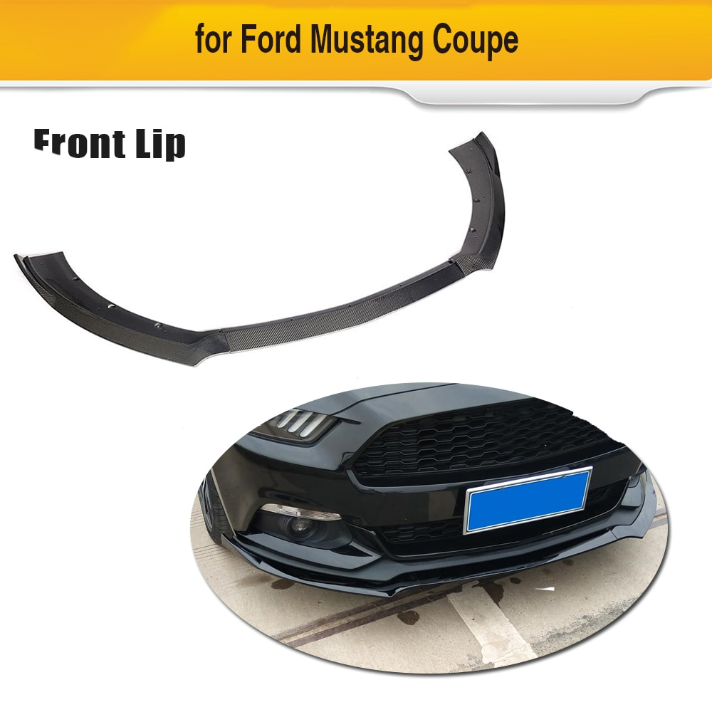 Alerón de fibra de carbono para parachoques delantero de coche para Ford Mustang Coupe Convertible 2 puertas 2015 2016 2017 Chin delantal Splitter