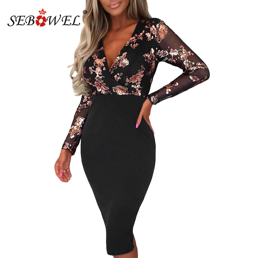 Sebowel moda primavera preto rosa ouro lantejoulas mulher manga longa midi bodycon vestido festa senhora malha envolto v-neck vestidos apertados