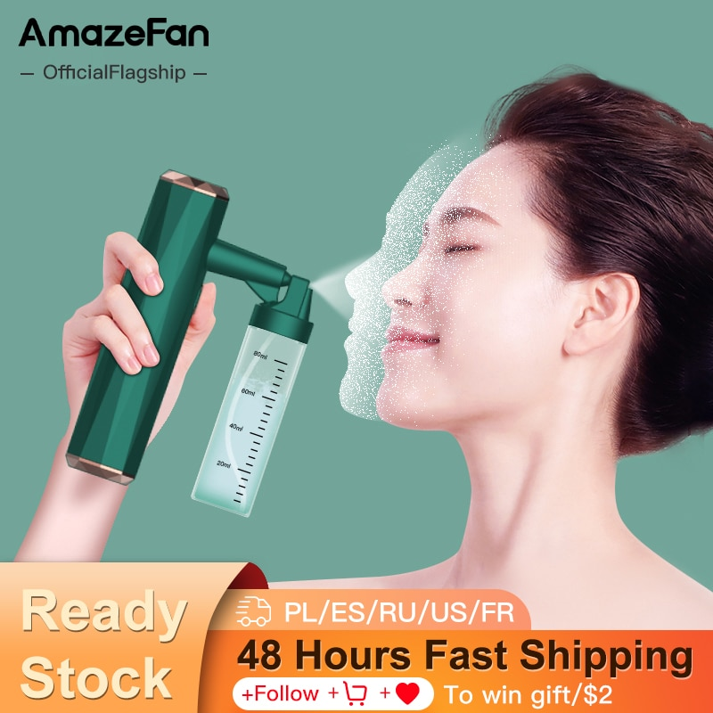 AmazeFan Nano Spray Facial Spa Steaming Face Moisturizing Beauty High Pressure Oxygen Injection Compression Gun Skin Care Tool
