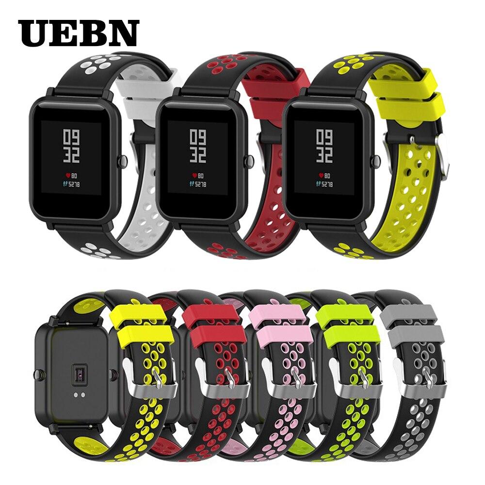 Pulsera para Huami Amazfit Bip lite GTS GTR de 42 a 47mm, repuesto de correa de silicona de 20mm para relojes inteligentes, pulsera de 22mm