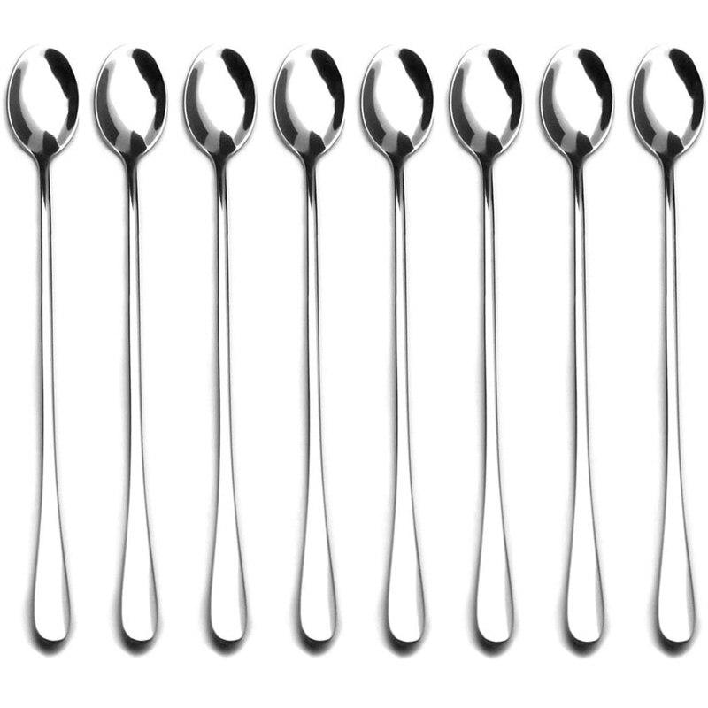 Cuchara agitadora de mango largo de 9 pulgadas, cuchara para sopa, cuchara para té de hielo, cucharas mezcladoras de cóctel de acero inoxidable-juego de 8