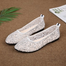 Lace Sequin Flats Women Shoes Pointed Toe Slip on Breath Lace Wedding Bridal Evening Party Womens Fl
