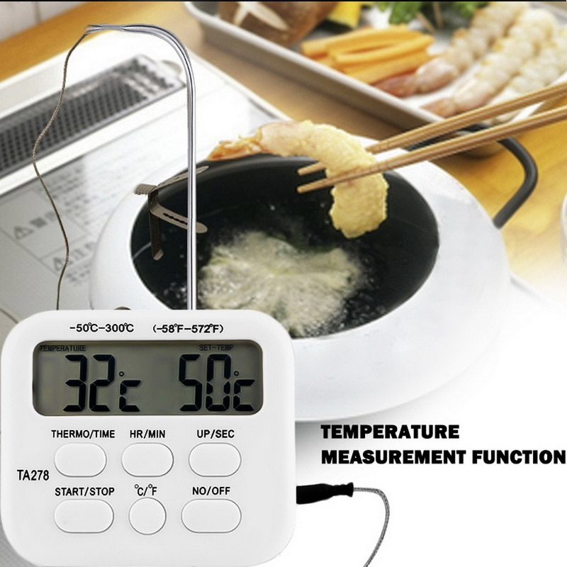 digital instant read voice broadcast food bbq cooking thermometer with lcd backlit display foldable probe for steak milk water m Kitchen Thermometer Timer With Probe Digital Oven Thermometer LCD Display Meat Thermometer Timer Cooking Milk BBQ Thermometer