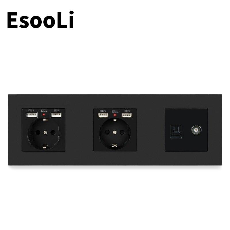 ESOOLI-مقبس كهربائي مع 4 منافذ USB ، لوحة بلاستيكية سوداء ، مقبس تلفزيون نسائي ، بيانات كمبيوتر الإنترنت RJ45 ، معيار الاتحاد الأوروبي