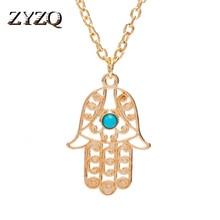 ZYZQ Fashion Design Palm Design Necklace Hllow Out Hand Pendant Chain Accessories Jewelry Neckalce For Women Wholesale Lots&Bulk