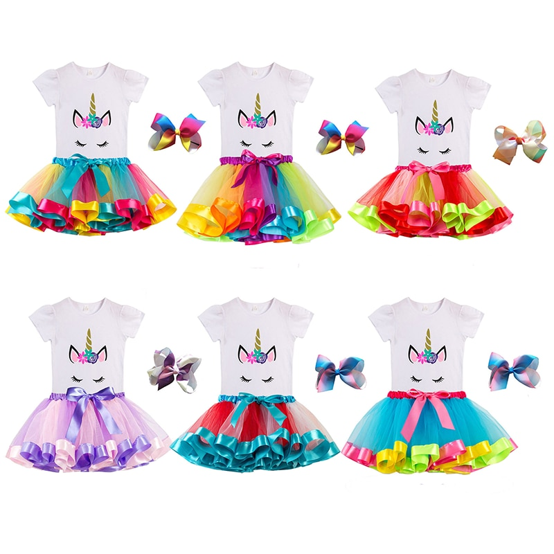 Girl Unicorn Short Sleeve T-Shirt And Tutu Skirt With Bow Hairpin Sets Costumes Performance Show For Kids Children Party Clothes