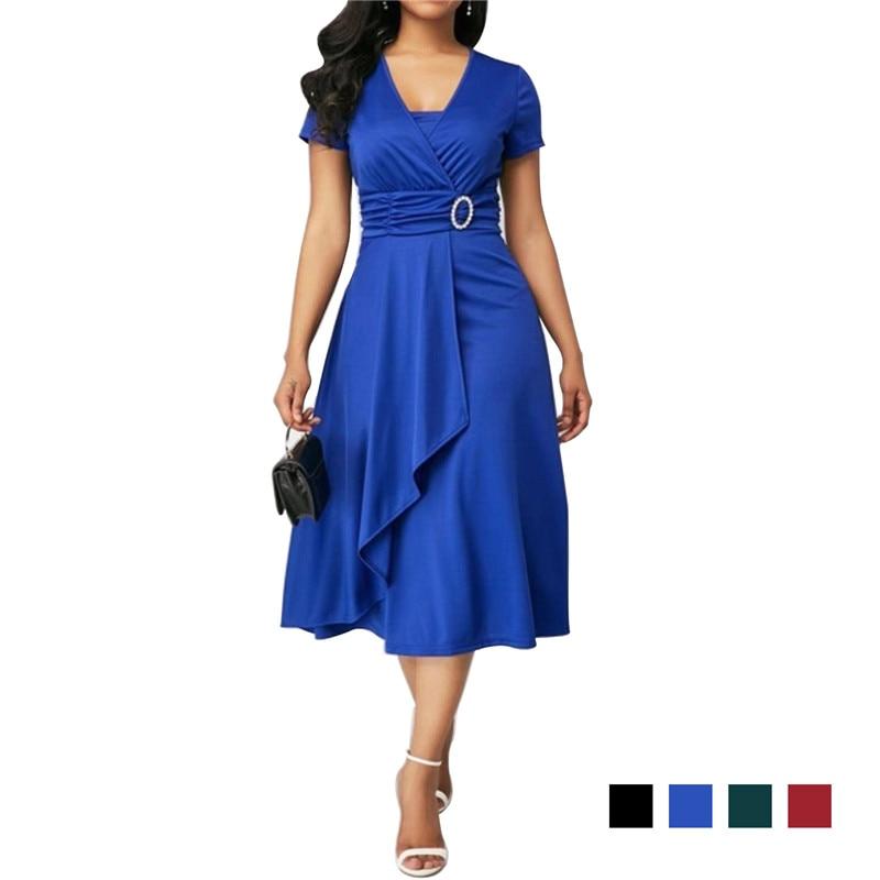 Elegant Asymmetric Midi Dress Women Autumn Summer Solid Casual Short Sleeve V-Neck Dress Plus Size High Waist S-5XL