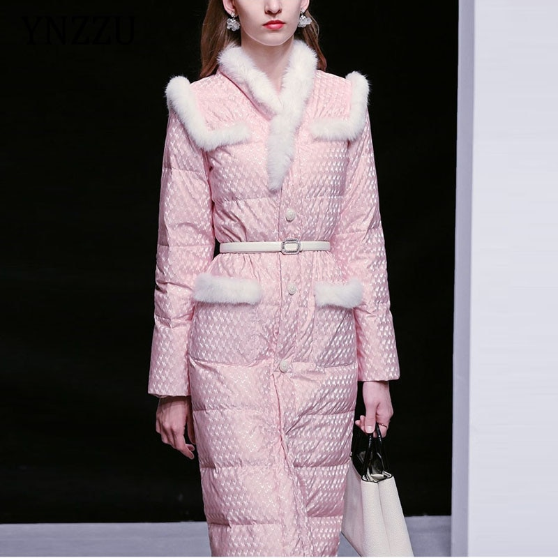 أنيقة المرأة سترة شتوية مع حزام الحلو الحقيقي الفراء طوق واحدة الصدر الركبة طول معطف أبلى 2021 سيدة YNZZU 1O213