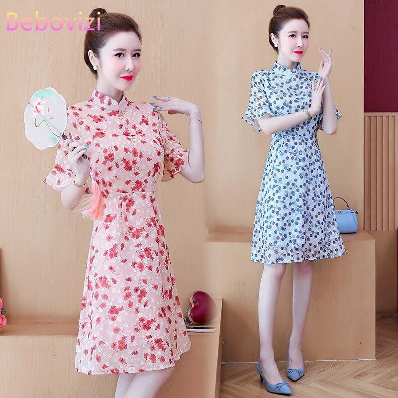 Размера плюс L-5XL летнее платье голубого и розового цвета с цветочным принтом модные хрустальные люстры свет современный тренд платье Чонса...