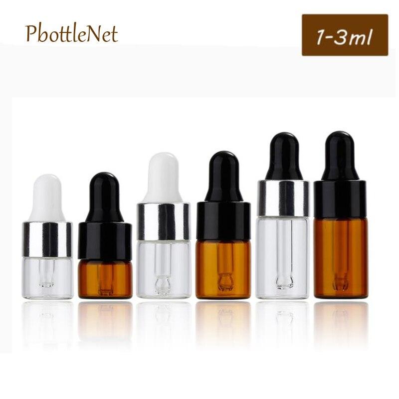 Conta-gotas de vidro 1/100 ml do olho do recipiente de óleo essencial das garrafas de vidro claras ambarinas de 2/3 pces com 4 pipetas