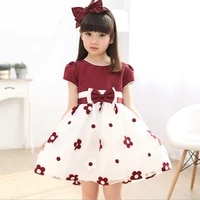 girls dresses 2020 summer dress for girls bow flower short sleeve dress girls princess party dress kids girls clothes vestidos