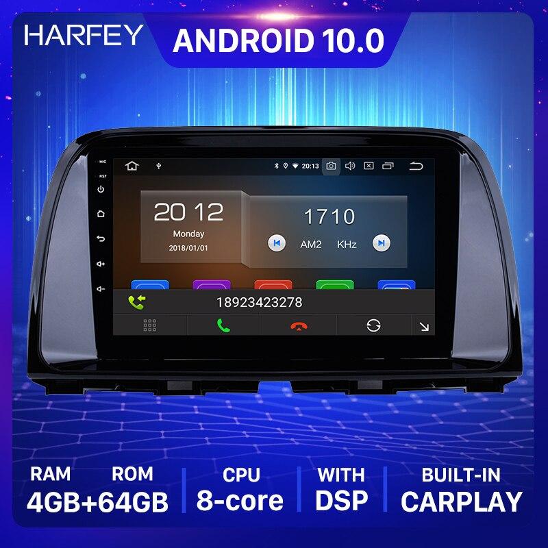 """Harfey 1Din 4GB + 64GB GPS Radio del coche para 2012, 2013, 2014, 2015 Mazda CX-5 Android 10,0 9 """"reproductor Multimedia la cabeza con 4G Wifi"""