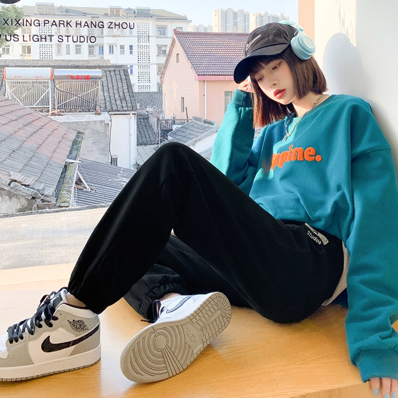 Sweatpants Women's 2021 Spring and Autumn New High-waist Loose-fitting All-match Slimming Large-size Wide-leg Casual Pants
