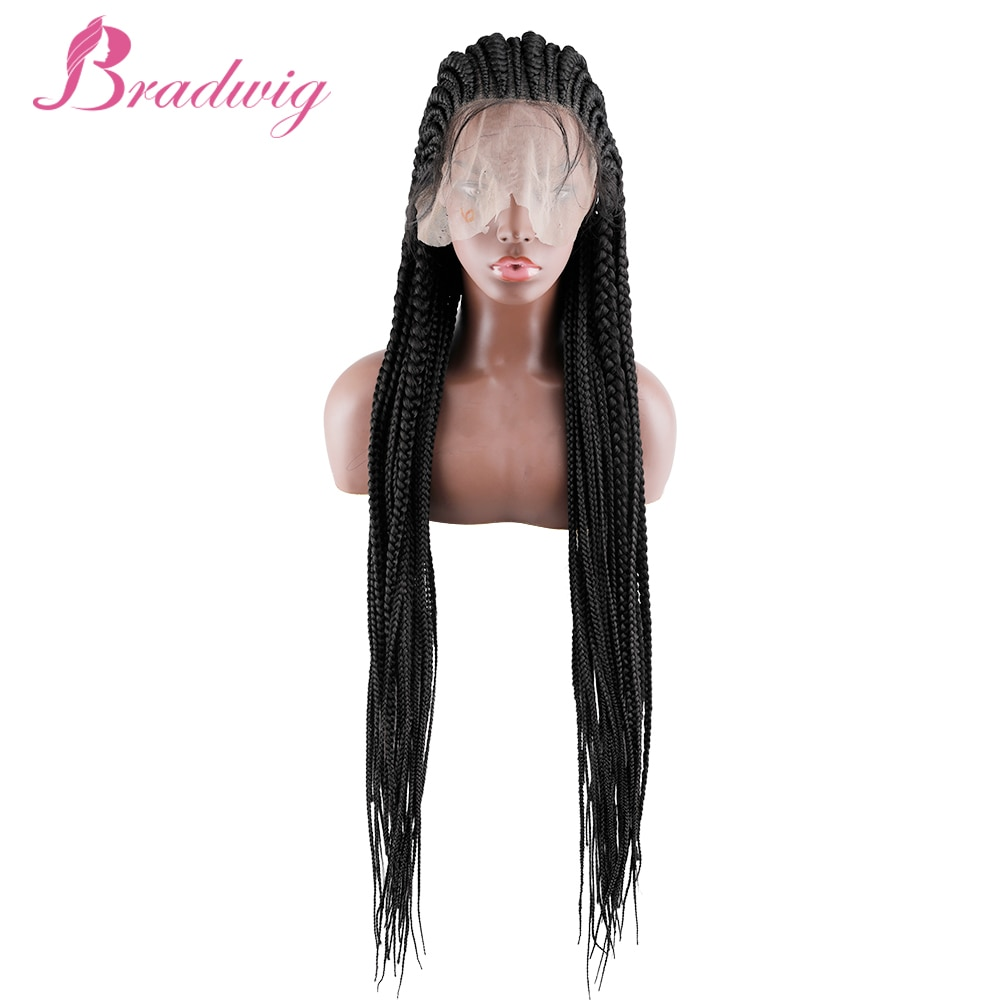 Braided Wigs 36 inches 13x7 Lace Front Synthetic Wig for Black Women Cornrow Braids Lace Wigs African Braids Wig