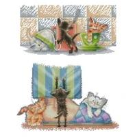 three cute kittens patterns counted cross stitch 11ct 14ct 18ct diy chinese cross stitch kit embroidery needlework sets