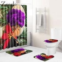 Zeegle Shower Curtian Bathroon Mat Set Anti-slip Bathroom Shower Mat Flannel Toilet Cover Seat Mat Absorbent Toilet Pedestal Rug