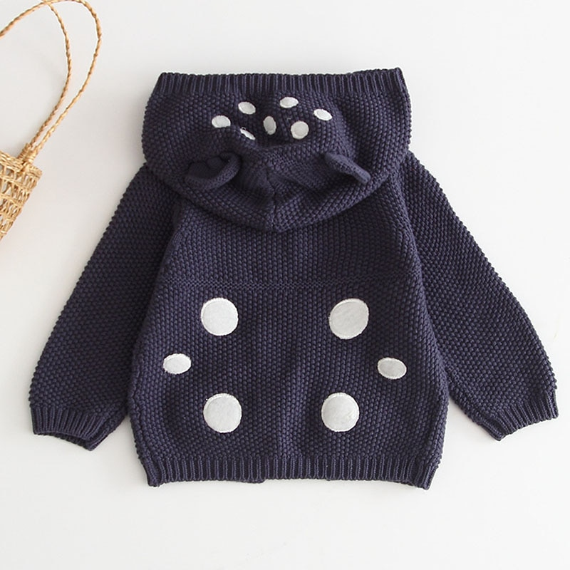 Ropa de punto de bebé otoño oreja con capucha abrigo de bebé suéter para niños y niñas chaqueta de Rebeca
