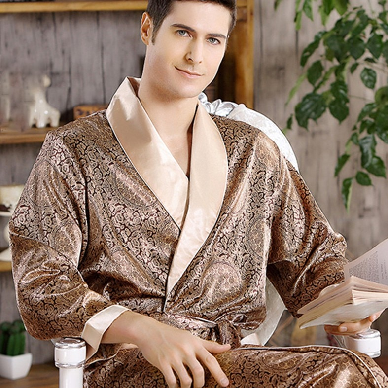 Men's Robe Nightgown Satin Kimono Bathrobe Gown Casual Sleepwear Plus Size Print Gold Home Dressing Gown 3XL 4XL 5XL