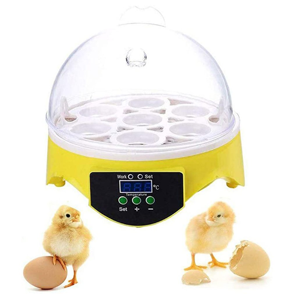 Маленький интеллектуальный цифровой инкубатор для 7 яиц, термостатический инкубатор для куриных яиц, полуавтоматический инкубатор для яиц