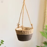 straw weaving hanging basket with healthy hemp rope can degrade flowerpots safely suspension orchid grass life attilude send