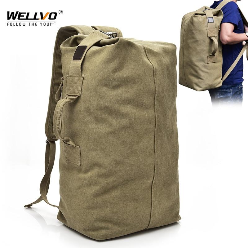 Men's Canvas Backpacks Multi-purpose Bucket Mountaineering Travel Bag Large Shoulder Bags Men Army T