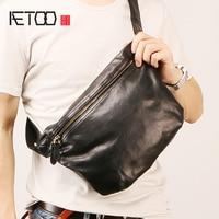AETOO Male leather oblique bag fashion trend chest bag vintage locomotive cowhide Casual Bag