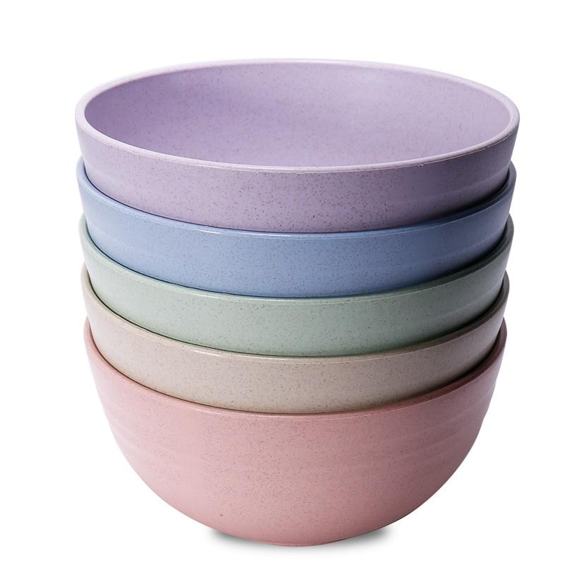 Эко-чаша, разноцветная зернистая пшеница, солома, рисовая лапша, Салатница, тарелка, тарелка для соусов, закусок, посуда, одна чаша