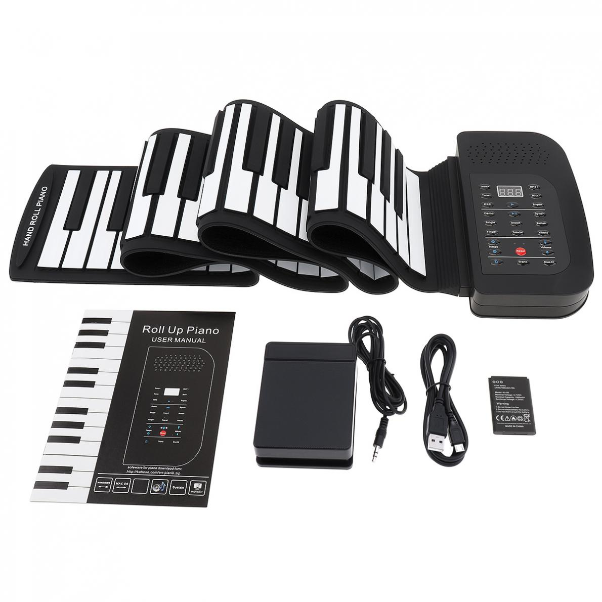 88 Keys Roll Up Electronic Piano Rechargeable Silicone Flexible Keyboard Organ Built-in Speaker Support MIDI Bluetooth enlarge