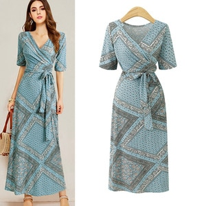 Dresses for Women Large-Size Dress European and American New Style Printed Slimming Strap Short-Sleeve Long Dress Vestidos