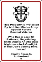 metal sign wall decor property protected by special forces soldier u s army aluminum metal signmade in usa