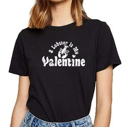 T camisa das mulheres meu anti valentine animal de estimação lagosta zoologia zoologist design preto curto feminino tshirt