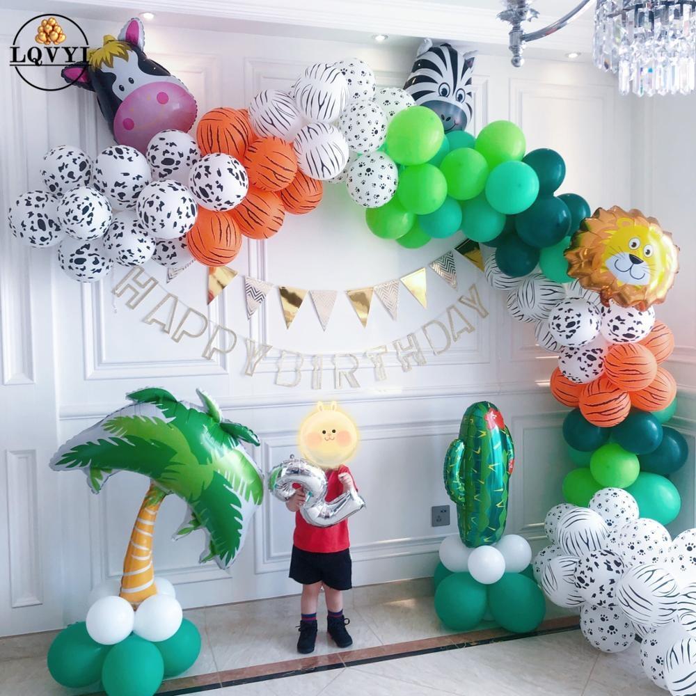 Dschungel Tier Party Affe Lion Folie Ballon Safari 30 1 2 3st junge Geburtstag Party Dekoration Kids Favors grünen Kranz kit