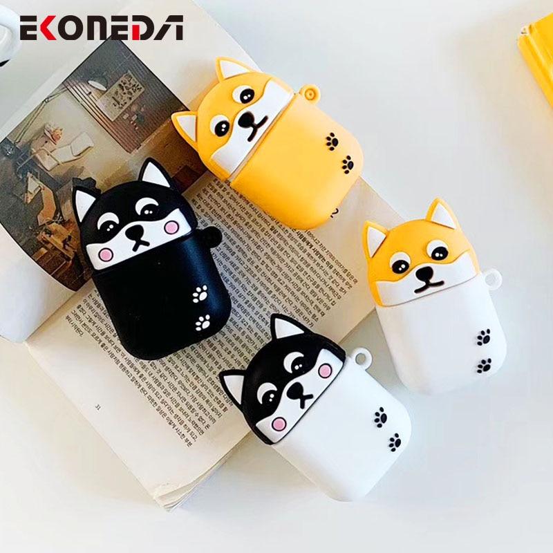 EKONEDA Cartoon Shiba Inu Husky Dogs Case For Airpods Case Silicone Cute Animal Soft Cover For Airpods