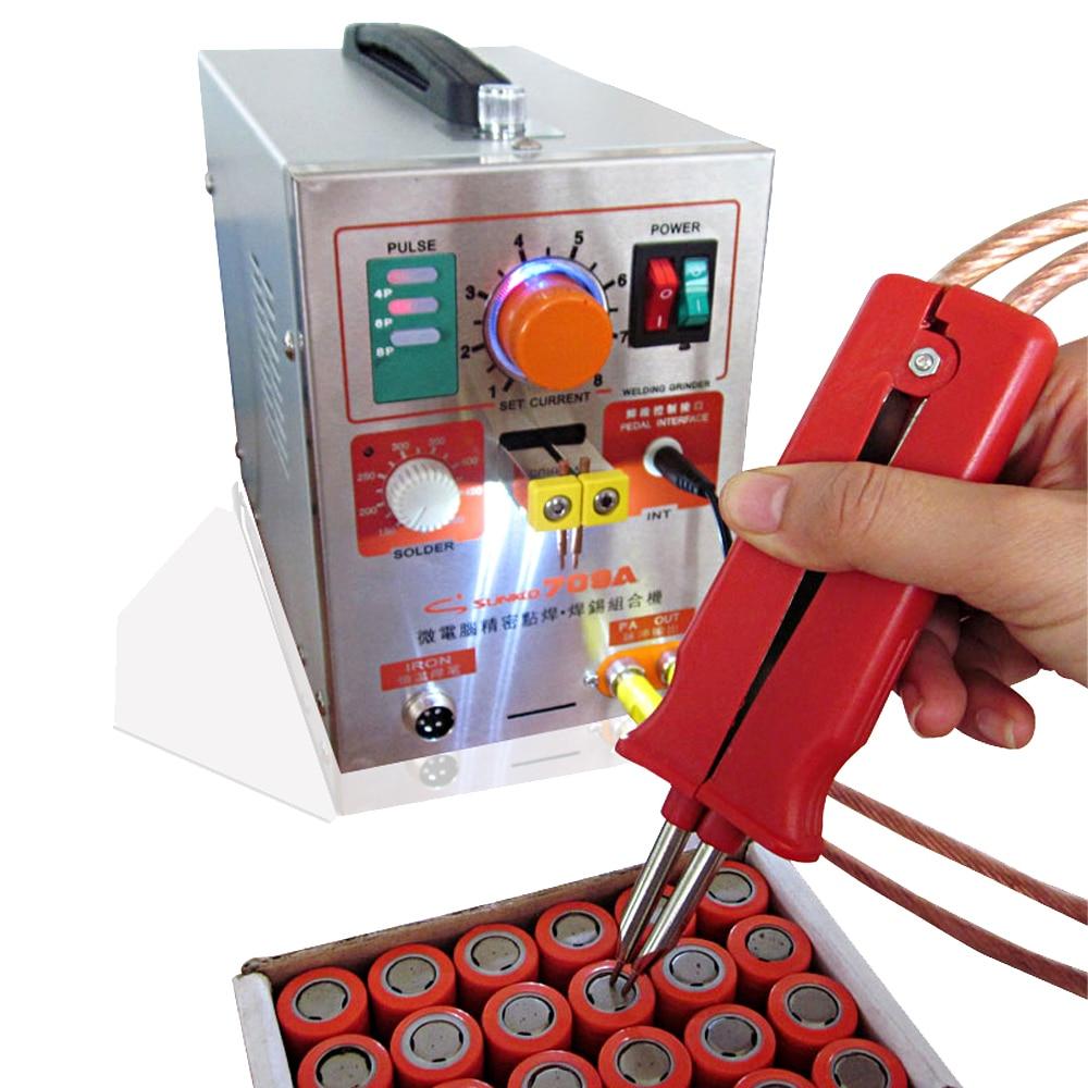 Sunkko 709A battery spot welder with HB-70B welder pen DIY battery pack spot welding machine with clip and nickel sheet enlarge