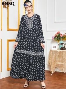 Ethnic Embroidery Maxi Dress Print Muslim Abaya African Dashiki Vestidos Kimono Long Robes Ramadan Eid Middle East Arab Islamic