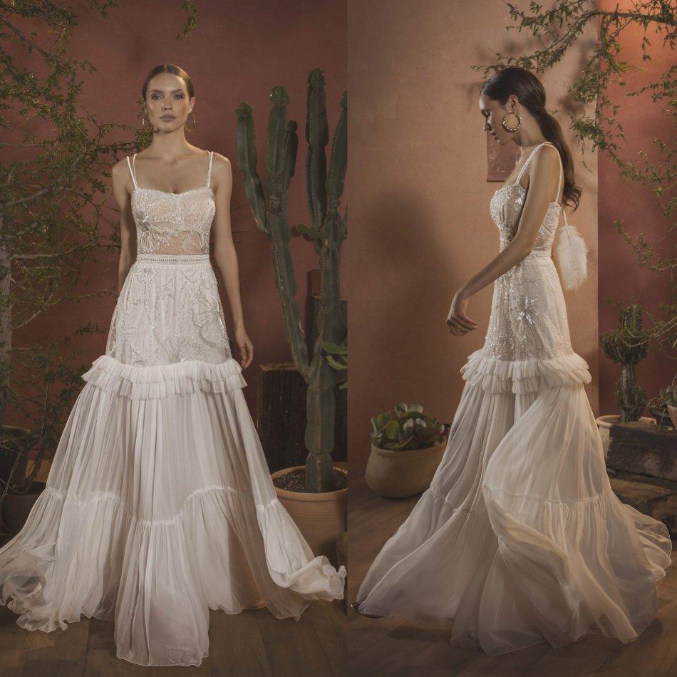 Elegante vestido de novia con abalorios 2020, vestido de novia con apliques tipo espagueti y cuello bohemio, vestido de boda de gasa hasta el suelo