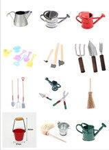 Étain métal maison de poupée Miniature arrosoir maison de poupée décoration maison de poupée accessoires jardin balai outils de nettoyage